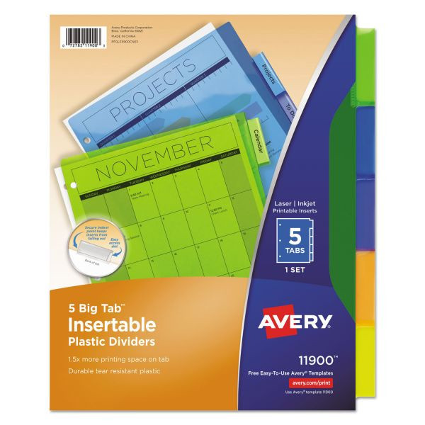 Image For Avery Insertable Big Tab Plastic Dividers