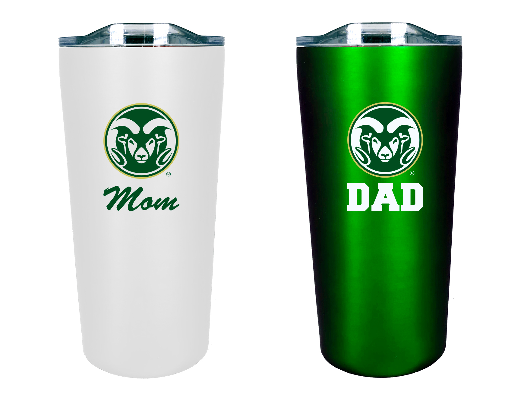 Image For Green and White CSU Mom and Dad Tumbler Set