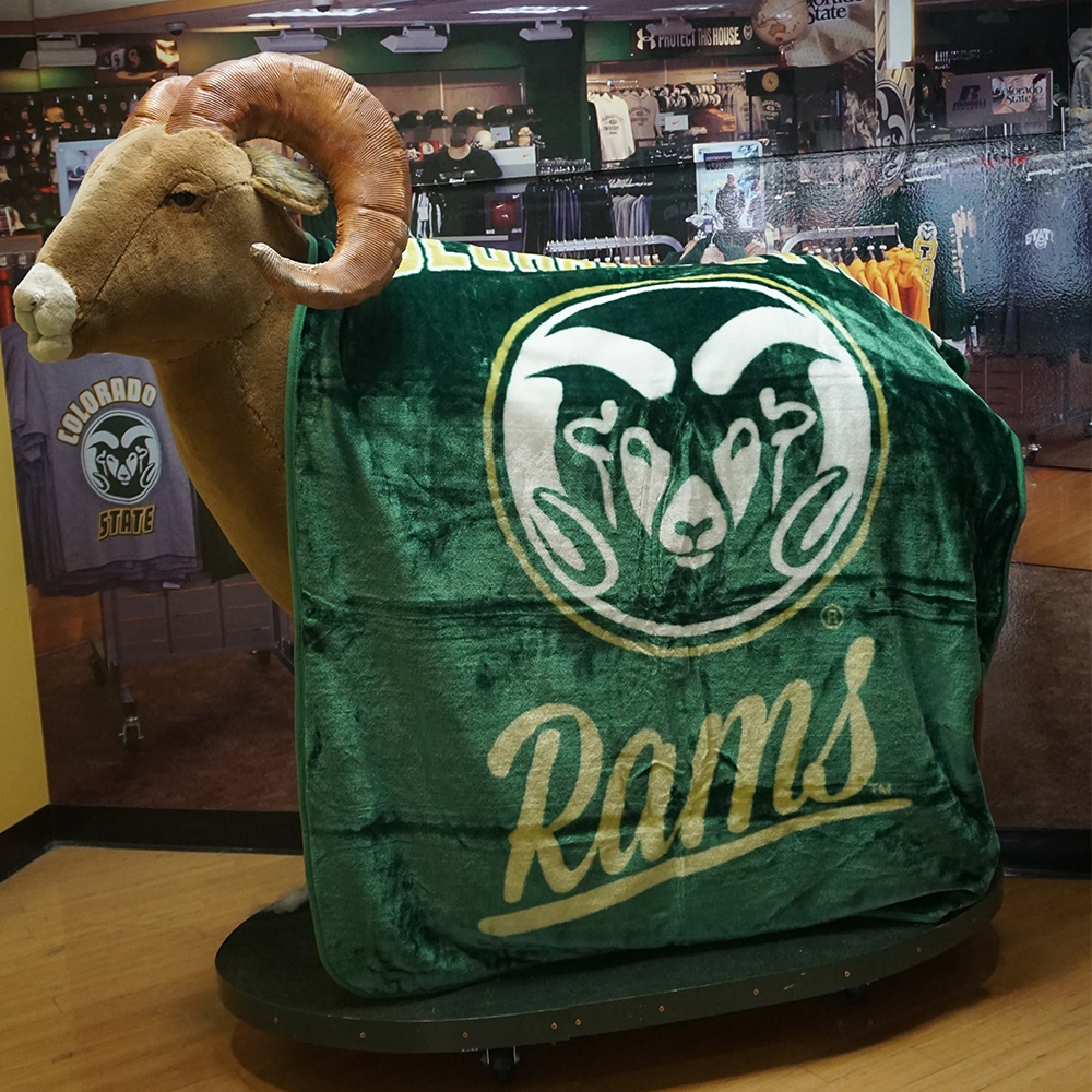Image For Green Colorado State Rams Plush Throw Blanket