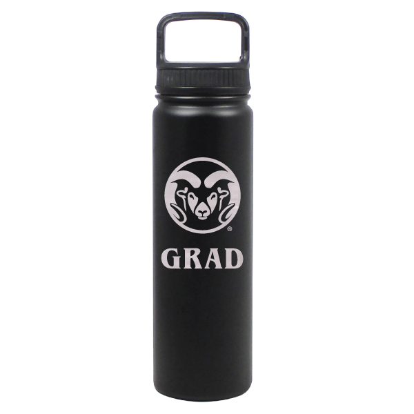 Image For Black CSU Rams 24 ounce Stainless Steel Grad Water Bottle
