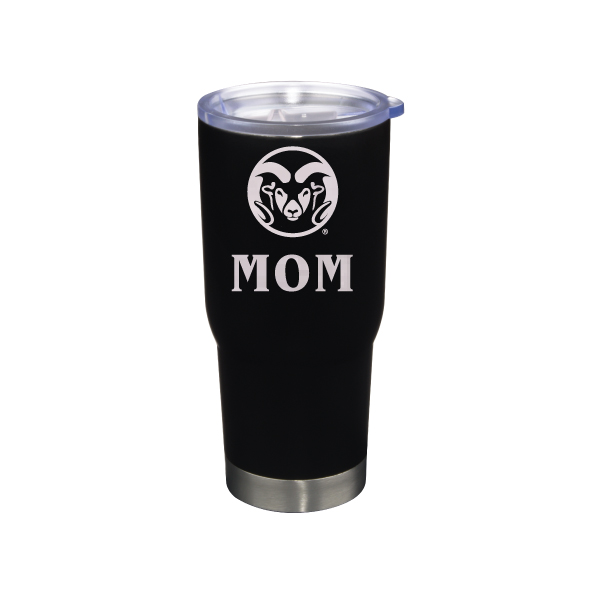 Image For Black CSU Rams 22 ounce Stainless Steel Mom Tumbler