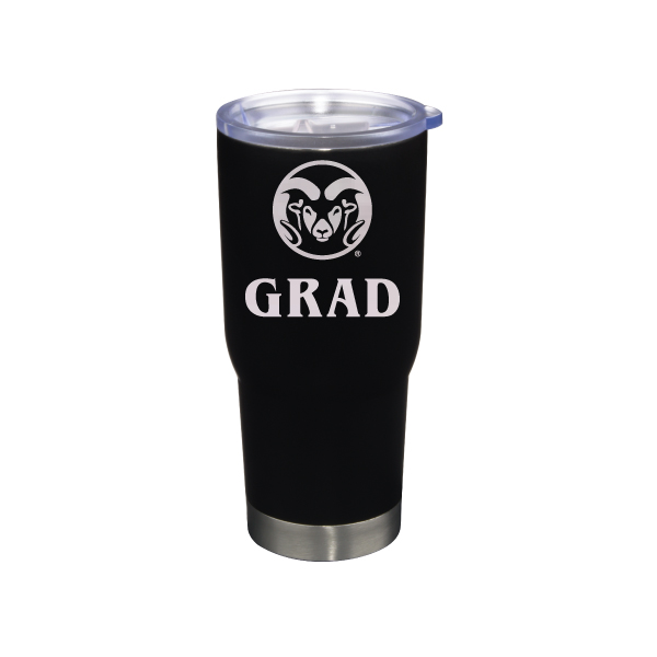 Image For Black CSU Rams 22 ounce Stainless Steel Grad Tumbler