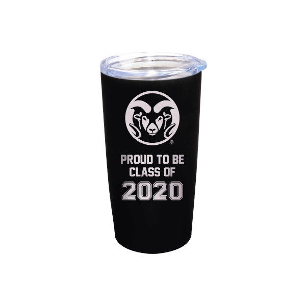 Image For Black CSU 20oz Stainless Steel Proud Class of 2020 Tumbler