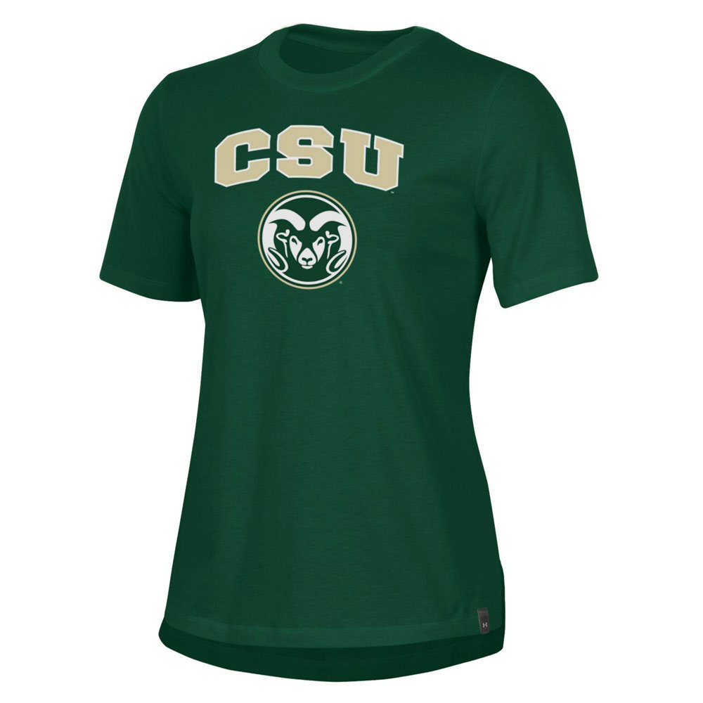 Image For Green CSU Ram's Head T-shirt by Under Armour