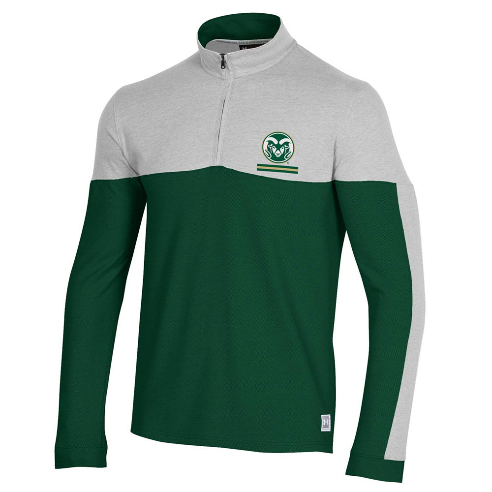 Cover Image For Green Two-Tone Ram Head Gameday ¼ Zip Jacket by Under Armour