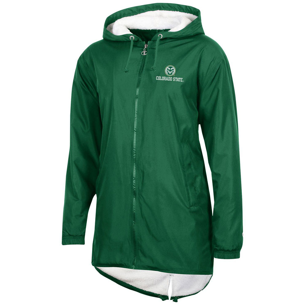 Image For Green Ladies Hooded Stadium Jacket w/ Ram's Head by Champion