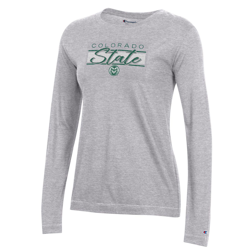 Cover Image For Grey Ladies Colorado State Long Sleeve Tee by Champion