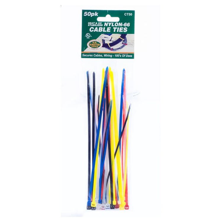Image For Assorted Size/Color Nylon Cable Ties 50 Pack