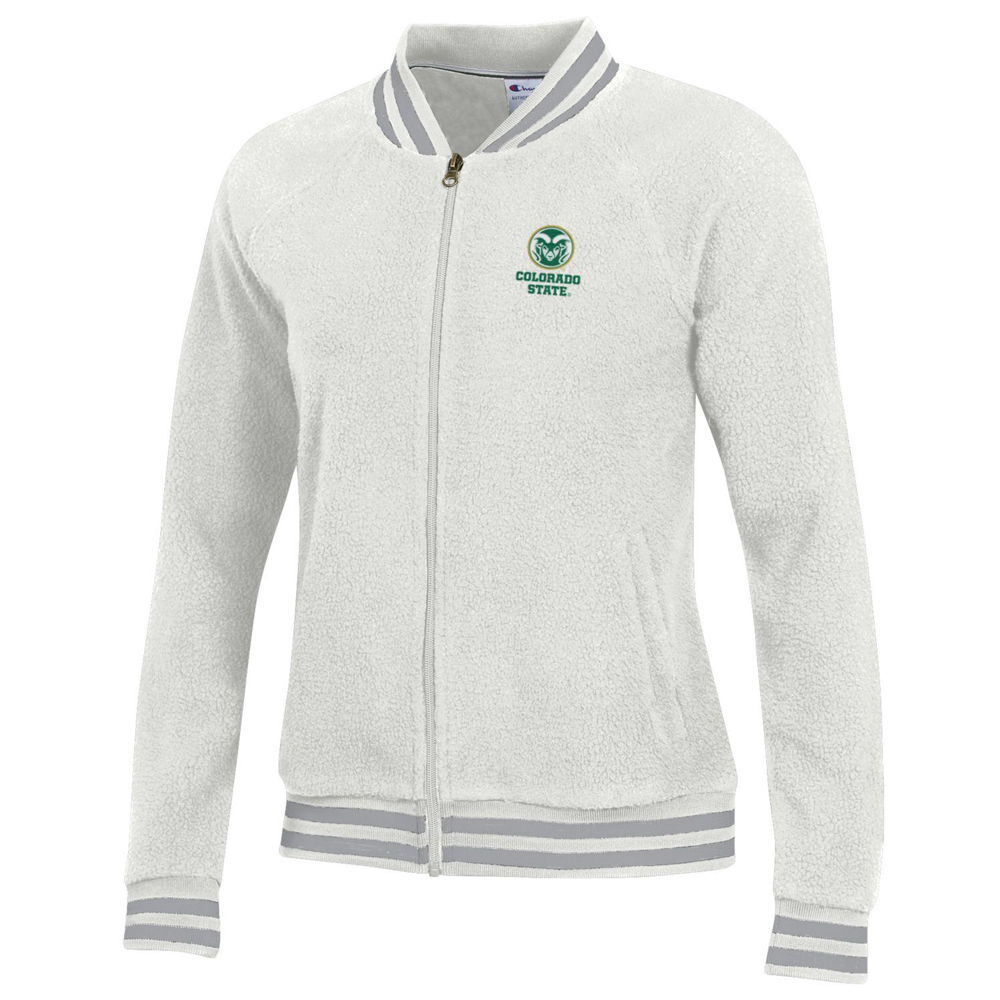 Cover Image For Women's CSU Rams White Sherpa Jacket by Champion