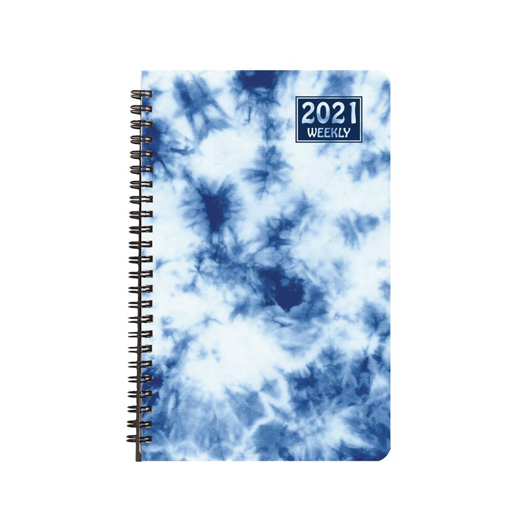 Cover Image For 2021 Blue Tie Dye Weekly Planner