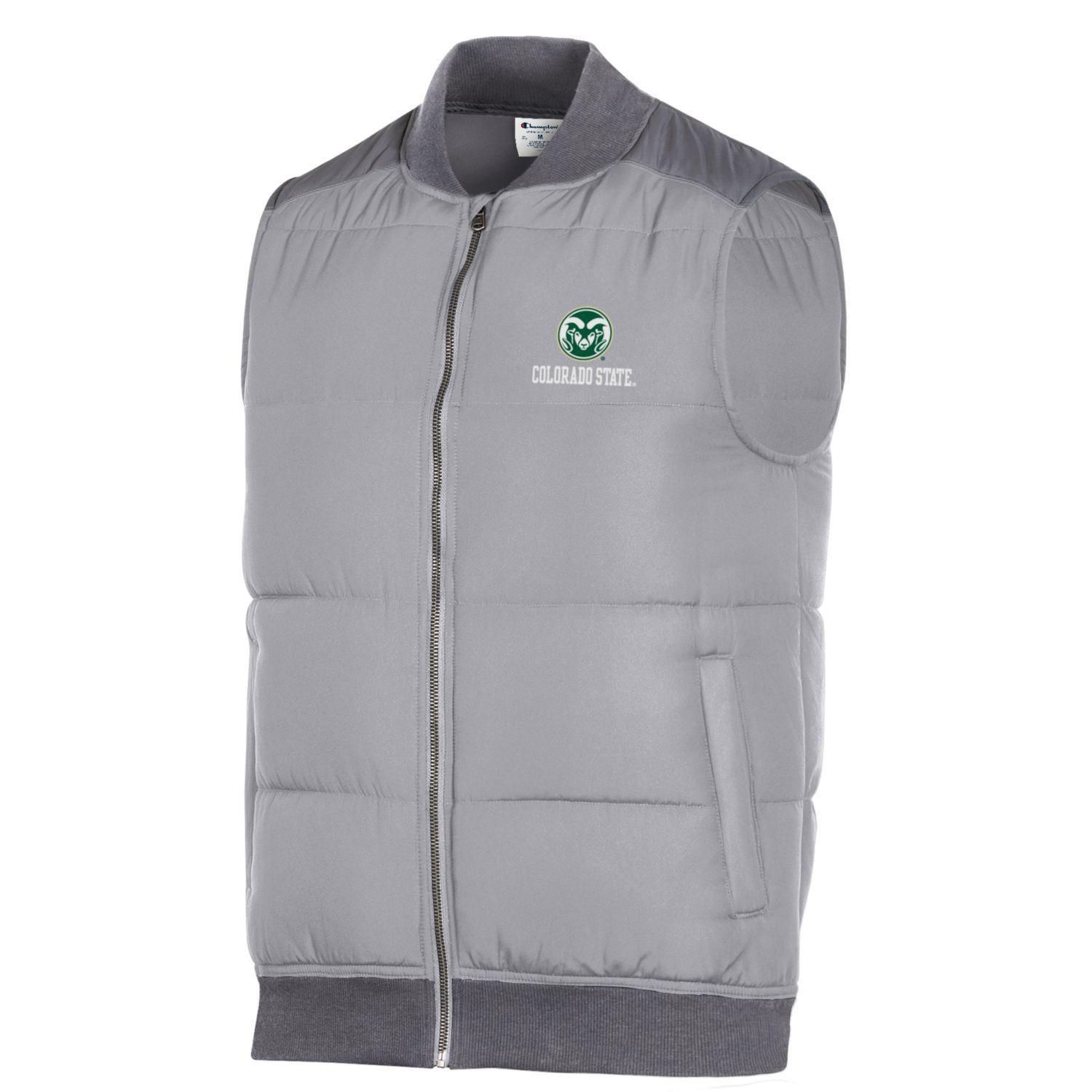 Image For Men's CSU Rams Grey Puffer Vest by Champion
