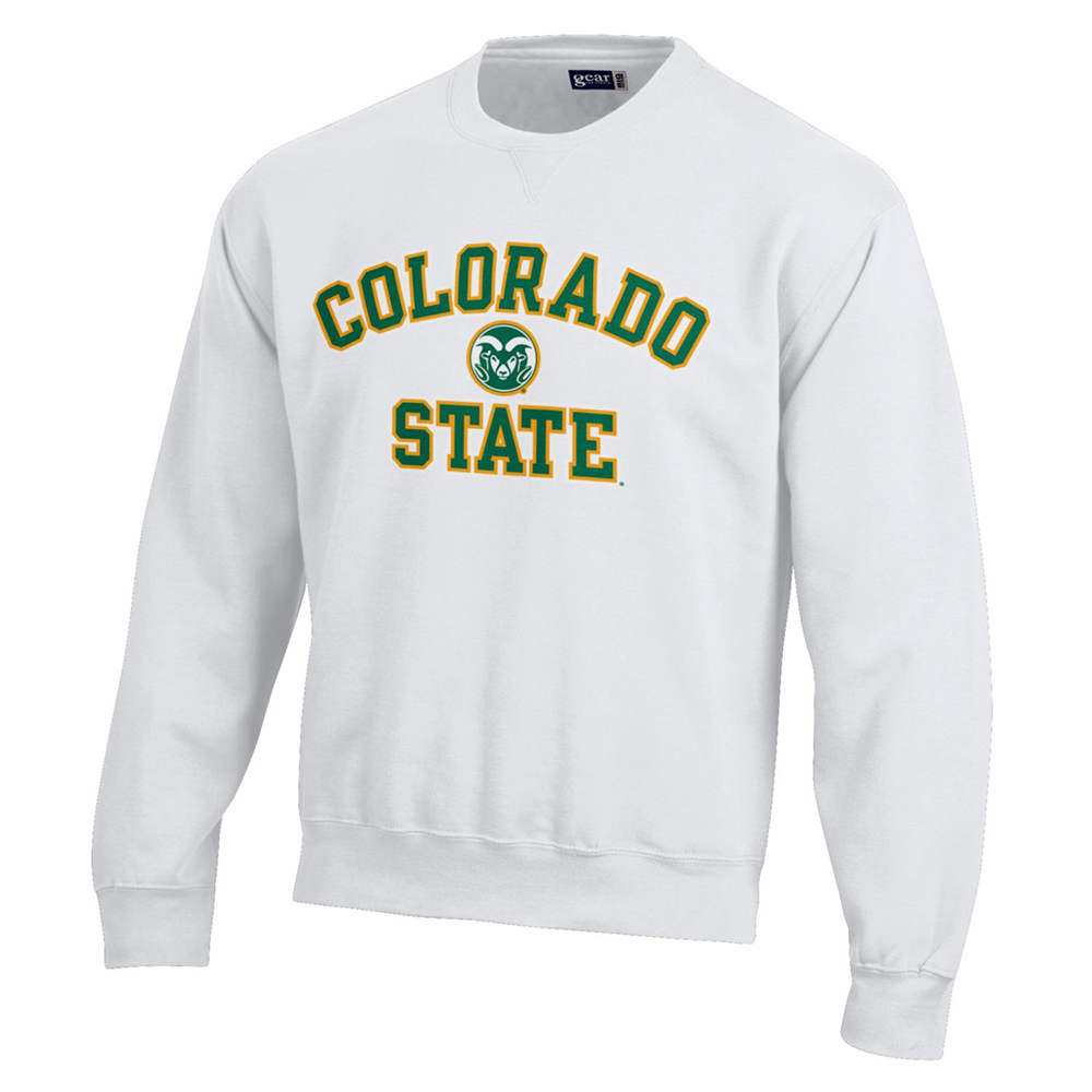 Image For White Colorado State with Ram Head Sweatshirt by Gear