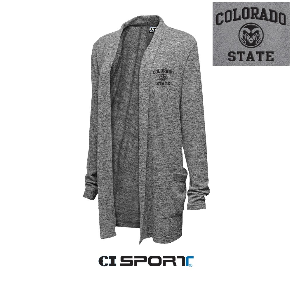 Image For Colorado State Marble Grey Woman's Cardigan